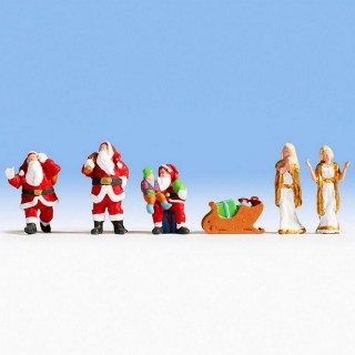 3 Pères Noël + anges-HO-1/87-NOCH 15920
