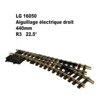 Aiguillage électrique droit 440mm R3 22.5 degrés-G-1/22.5-LGB 16050