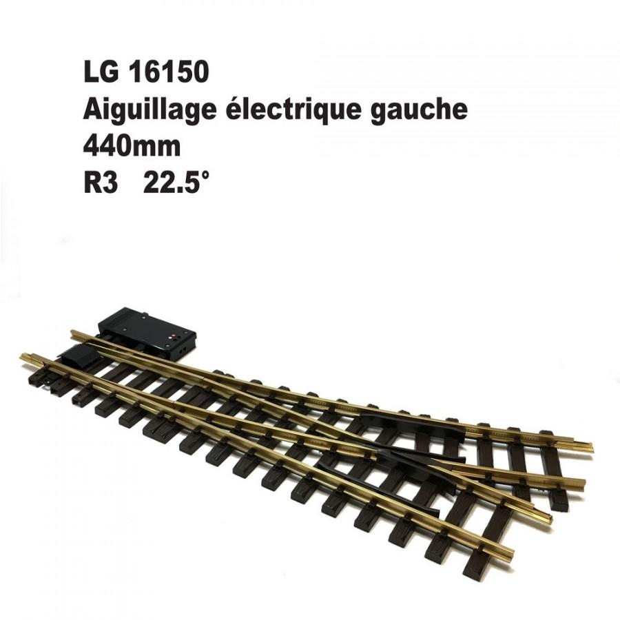 Aiguillage électrique gauche 440mm R3 22.5 degrés-G-1/22.5-LGB 16150