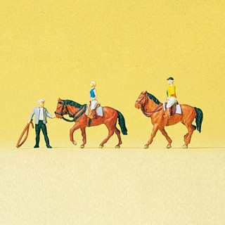 Set d'équitation 3 personnages et 2 chevaux-N-1/160-PREISER 79185