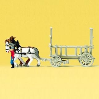 Charette à ridelles avec chevaux et personnage-N-1/160-PREISER 79476