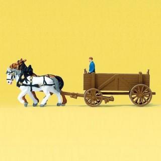 Charette tombereau avec chevaux et personnage-N-1/160-PREISER 79475