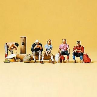5 personnages assis avec sacs-N-1/160-PREISER 79162