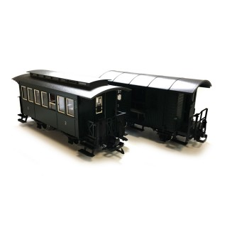 Set de 2 voitures et 2 wagons porte charge train de jardin-G 1/22.5-LGB 49390