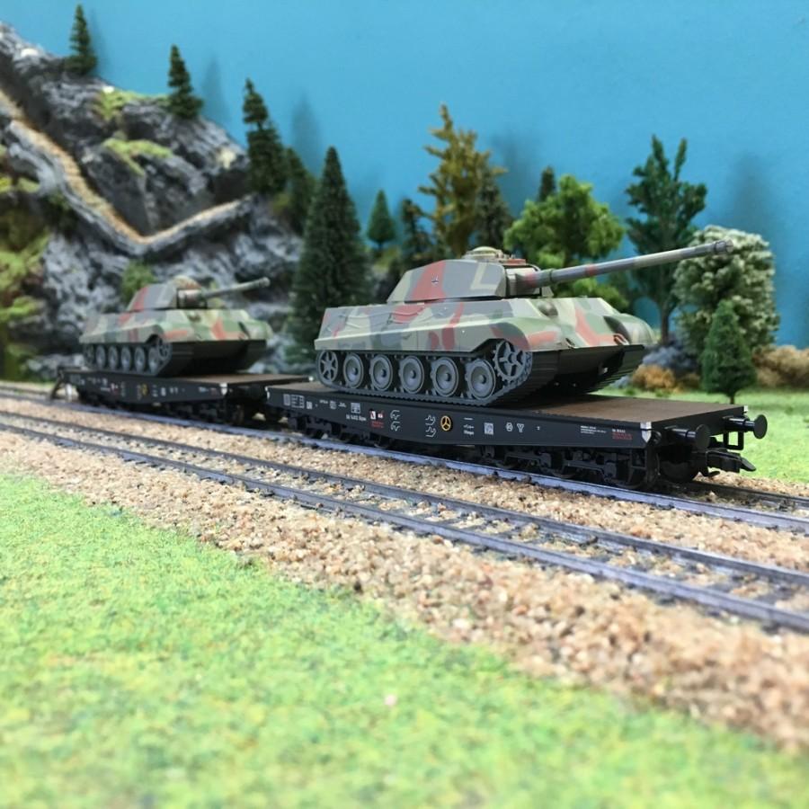 Set de 2 wagons plats transport de Tanks DRB ép II-HO-1/87-LILIPUT 230145