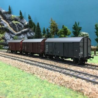 Set de 3 wagons couverts GMS 30 ép III SNCF OBB SAAR-HO 1/87-BRAWA 45901