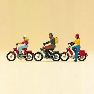 3 Mobylettes avec conducteurs-HO-1/87-PREISER 10125