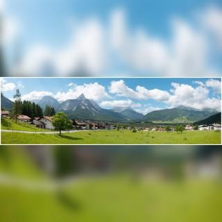 Décor de fond village montagne-N-1/160 et HO 1/87-VOLLMER 46106