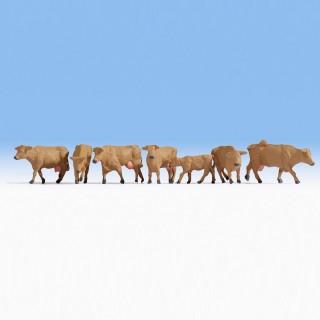 7 vaches marrons-HO-1/87-NOCH 15727