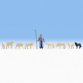 Berger avec son chien et 7 moutons-HO-1/87-NOCH 15748