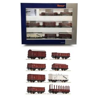 Coffret de 8 wagons de marchandises DB ép III-HO-1/87-ROCO 44002