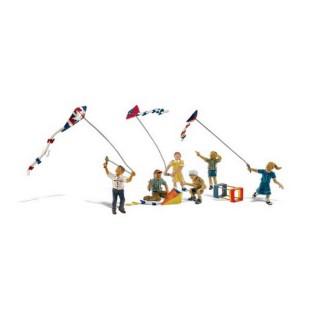 6 personnages jouant au cerf-volants-HO 1/87-WOODLAND SCENICS A1937