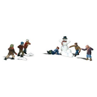 6 enfants jouant dans la neige-HO 1/87-WOODLAND SCENICS A1894