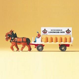 Charette transport de biere avec chevaux et personnage-N-1/160-PREISER 79478