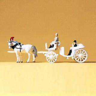 Charette de mariage avec chevaux et personnages-N-1/160-PREISER 79479