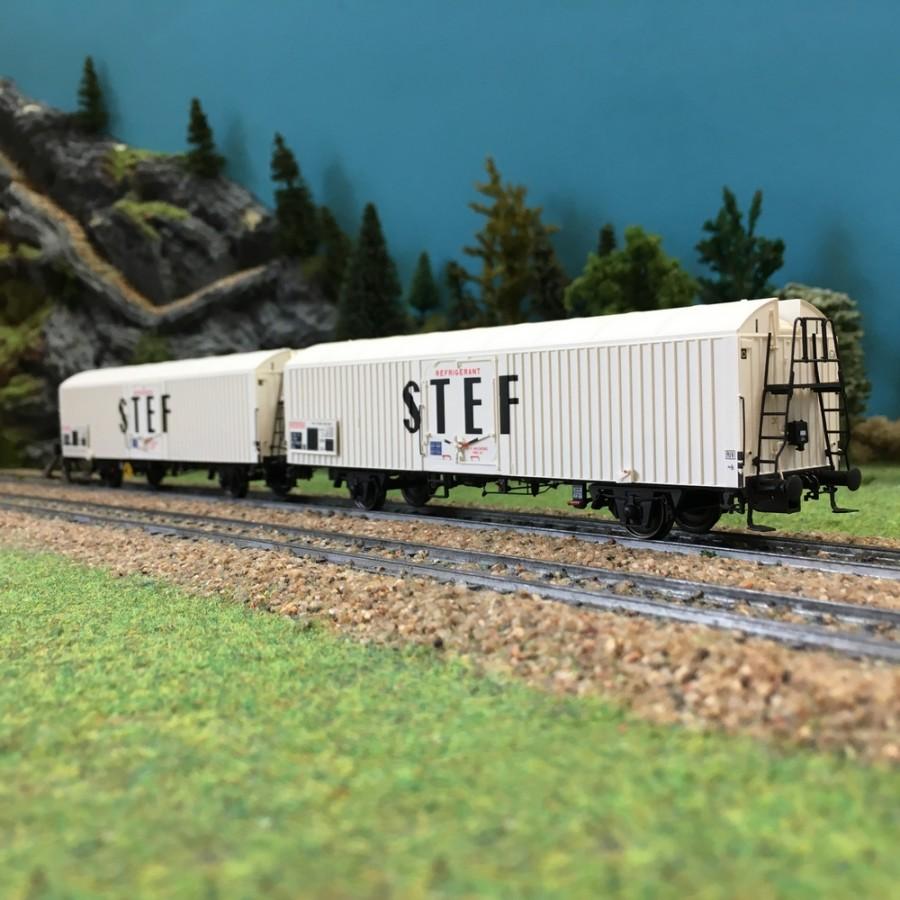 Coffret de 2 wagons couverts STEF SNCF ép IV-HO-1/87-LSMODELS 30227