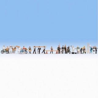 Set de 24 personnages au travail-HO 1/87-NOCH 16047