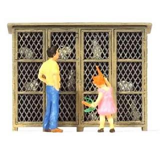 Clapier à lapins avec personnages-HO 1/87-PREISER 28099