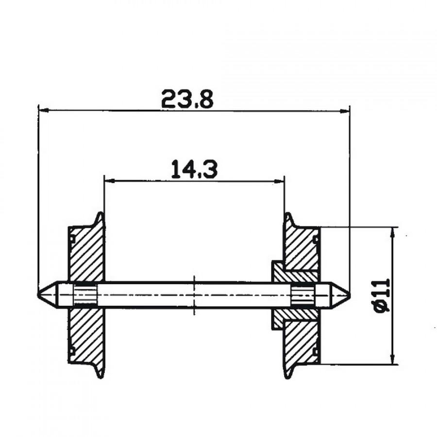 2 essieux Standard-HO-1/87-ROCO 40182