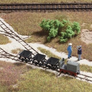 Set de rails de voie annexe avec wagonnets-HO 1/87-AUHAGEN 41700
