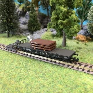 Wagon plat transport charges lourdes ép IV DB-N-1/160-MINITRIX 15453