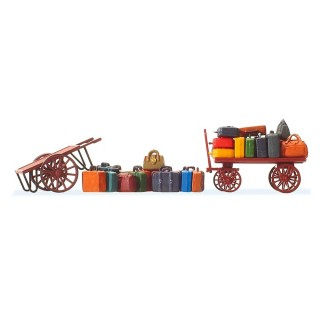 2 chariots à bagages + bagages-HO 1/87-PREISER 17705