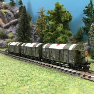 Set de 3 wagons croix rouge ép II DRG-N-1/160-HOBBYTRAIN 24908