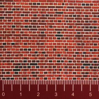 Plaque cartonnée mur en briques rouges-HO 1/87-VOLLMER 46042