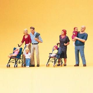 2 couples avec enfants-HO 1/87-PREISER 10494