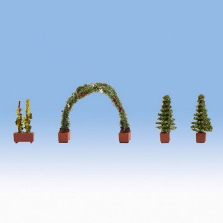 Rosiers en pots + Arche-HO 1/87-NOCH 14022