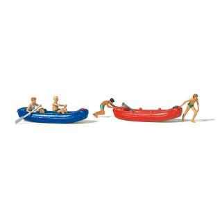 4 personnages en canots pneumatiques-HO 1/87-PREISER 10705
