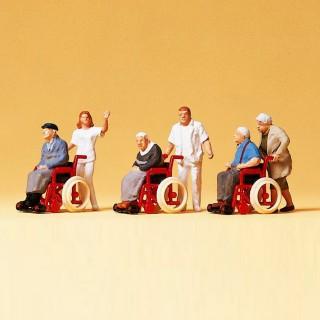 Personnages en fauteuils roulants + infirmiers-HO 1/87-PREISER 10479