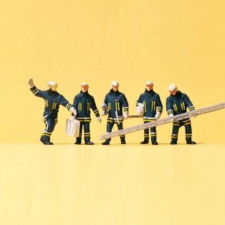 6 Pompiers en intervention-HO 1/87-PREISER 10484
