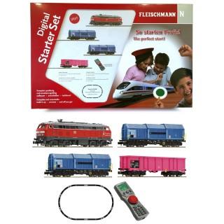 Coffret digital BR 218 + wagons marchandises DB-N 1/160-FLEISCHMANN 931890