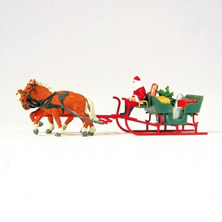 Père Noël + Attelage 2 chevaux-HO 1/87-PREISER 30448