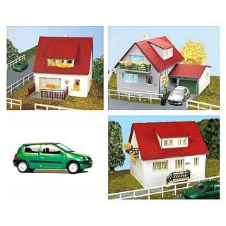 Set de 3 pavillons + 1 véhicule-HO 1/87-SAI 215