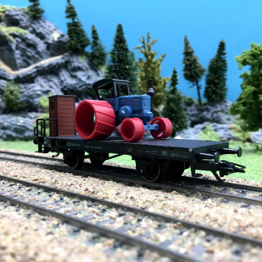 Wagon transport d'engin-HO 1/87-MARKLIN 46844 DEP103-221