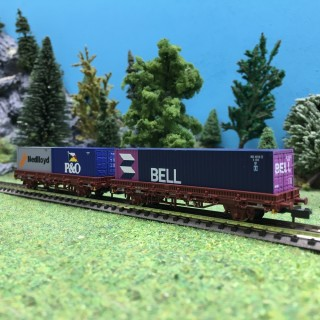 2 wagons porte container NS Ep IV-V-N 1/160-ARNOLD HN6400