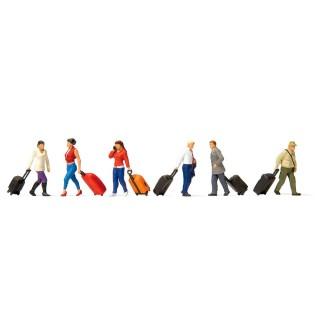 Voyageurs marchants + bagages HO-1/87-PREISER 10640
