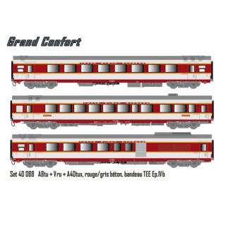 3 voitures Grand Confort A8tu + Vru + A4Dtux Sncf ép IVb-HO 1/87- LSMODELS 40088