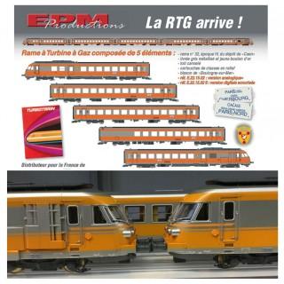 Rame 5 éléments RTG N°32 dépôt de Caen Sncf ép IV -HO 1/87- EPM E221502