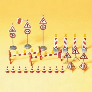 Signalisation de travaux routiers-HO 1/87-PREISER 17176