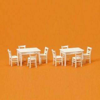 2 Tables et 8 Chaises Blanches-HO 1/87-PREISER 17217