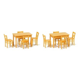 2 Tables et 8 Chaises Marron-HO 1/87-PREISER 17218