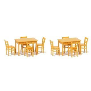 2 Tables et 8 Chaises Marron-HO 1/87-PREISER 17218