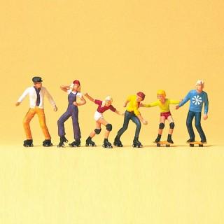 6 personnages en Rollers et Skateboard-HO 1/87-PREISER 10074