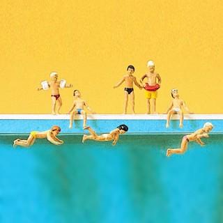8 Enfants à la piscine-HO 1/87-PREISER 10307
