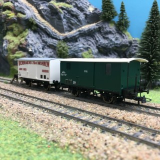 2 wagons couverts K.K.St.B Ep I-HO 1/87-ROCO 67172