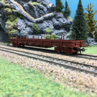 Wagon plat à ridelles et ranchers DR-HO 1/87-FLEISCHMANN 5787K DEP103-332