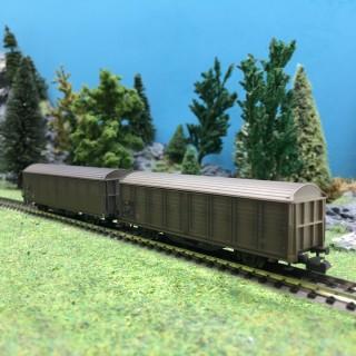 2 wagons à parois coulissantes Hbis-V Ep V SBB-N 1/160-MINITRIX 15307